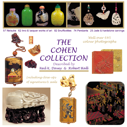 Netsuke, inro, snuffbottles and jade carvings - 645 colour photographs including close-ups of signatures and seals.  All described by Neil K. Davey & Robert Hall